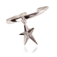 Wholesale lingdong fashion brand S925 Silver Star open ring Fashion five pointed star ring Creative silver gift