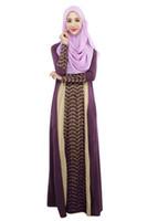 Wholesale Muslim Arab robes Lace stitching dresses loose dress
