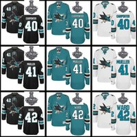 Wholesale San Jose Sharks Mirco Mueller Joel Ward Edouard Vlasic Men Women Youth Black White Green Custom Jerseys Stanley Cup Final patch