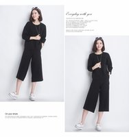 Wholesale New Women s Fashion Casual Twill Soft Fabric Delicate Clipping Wide Leg Capris Four colors Elastic Waist