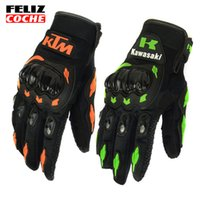 Wholesale New Sale Full Finger Motorcycle Gloves Motocross Luvas Guantes Green Orange Moto Protective Gears Glove For Men FELIZCOCHE A2307