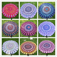 Wholesale Round Beach Towel Silk Scarves Nostagia Peacock Tail Fashion Printed Patterns Scarf Multicolors Multipatterns DHL