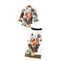 ancient silk - Europe and the United States women s new spring and summer of Temperament of restoring ancient ways is printed skirt fashion suits