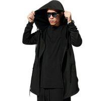 avant garde mens fashion - Avant garde Big Hood Double Coat Mens Hoodies Sweatshirts Black Cloak Assassins Creed Outwear Chandal Hombre