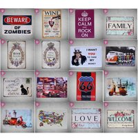 Wholesale 40 Styles Wall Poster CM Metal Stickers Tin Sign Pub Club Gallery Home Poster Vintage Plaque Decor Plate