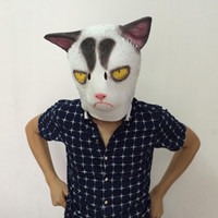 angry cats - Creepy White Cat Mask Cosplay Angry Cat Mask Halloween Party Masks Full Head Animal Latex Mask