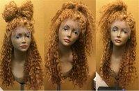 Precio de Miel rubia pelo rizado virgen-Color # 27 Peluca llena del cordón del pelo humano de la miel con el pelo del bebé peluca encarnada rizada del cordón de la Virgen Pelucas del pelo humano