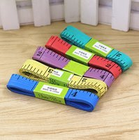 Wholesale New Body Measuring Ruler Sewing Tailor Tape Measure Soft Inch m Sewing Ruler Meter Sewing Measuring Tape Random Color