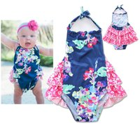 Wholesale Baby romper backless flowers printed Romper for Baby Girls jumpsuit INS toddler kids cotton falbala climb clothes BEBE jumpsuit Z0064