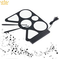 Vente en gros-Portable USB PC électronique de bureau Roll Up Drum Pad Kit Set Tambour Sticks pédale