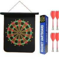 Wholesale Inches Magnetic Roll up Dart Board Double Sided Hanging Dart Game Set with Four Darts Kids Toys