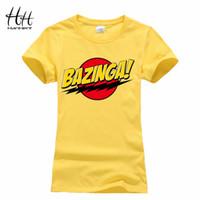O-Neck bazinga tee shirt - HanHent Bazinga Funny Women s T Shirts Cotton Ladies School Style The Big Bang Theory T Shirt Casual Cropped Tee Shirt Woman