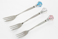 Wholesale crystal diamond stainless steel tea coffee ice cream sugar juice stirring spoon fruit fork dinnerware high grade food bar tools pc H55