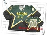 Wholesale 2016 New Design Style Dallas Stars Throwback Green Black Hockey Jerseys Accept Any Name and Any Number Custom Stitched Jerseys