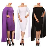 Wholesale Sexy Slash Neck Evening Autumn Dress Cape Gown White Black Red Purple Plus Size XL Midi Dresses for Cocktail Party