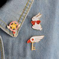 Grossiste- Rabbit Bird Head Wing Star bâton Magic Wand Key Bowknot Broche Pour Femmes Hommes Chapeau Chandail Veste Collier Pins Badge Anime Bijoux
