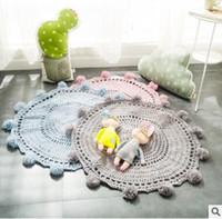 acrylic floor mats - 80 cm Ins Handmade Crochet Knitted Round Rugs Carpets Living Room Doormat Cartoon Ins Animal Fox Bear Carpets Door Floor Mat For Bedroom
