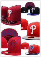 achat en gros de logo vente-CHAUD! Vente Chapeaux Philadelphia PhillieFitted Logo de l'équipe brodée Rouge Couleur Sport Sur le terrain Design Baseball Full Closed Caps Casquette Hip Hop