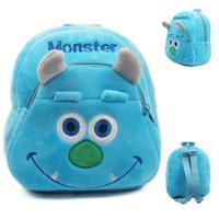 Wholesale Blue Monster baby bag plush shool bags kids backpack lovely design mini bags for child Best Christmas gift