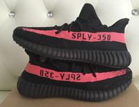 al por mayor grande y negro-Tamaño grande 36-48 Onsale 350 V2 Sply Core Negro Rojo BY9612 Boost 350 con la caja de recibo calcetines Kanye West Running Shoes