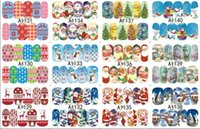 Wholesale New Christmas Watermark nail sticker Santa snowflake deer sledge nail stick design nail art punk stickers decals decoration Christmas Wate