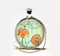 Wholesale Handmade Postcard Poppies pendant necklace poppy jewelry