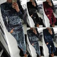 Wholesale Ladies Crushed Velvet Shining Colors Lounge Suit Sweatshirt Womens Tracksuit Piece Set Top Drawstring Pants DCT