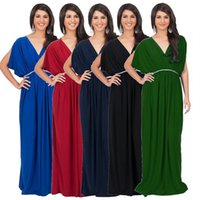 Wholesale Short Sleeve Maxi Dress Pattern - 2016 New Pattern Europe And America Increase Code Sexy Deep V Paige Fashion Bat Sleeve Dress Banquet Evening Dress B-430