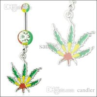 Wholesale Rasta Pot Leaf Jamaican Gem Belly Ring Navel Ring Body Piercing Jewelry nice and new style