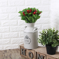 Wholesale Elegant White Country Rustic Primitive Jug Vase Milk Can Flower Vase For Wedding Party Home Cafe Decoration