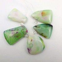 El grano pendiente de la ágata del onyx verde hermoso 5pcs fijó YZ00393