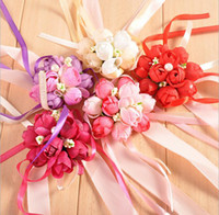 Wholesale Colors Rose Wrist Corsage Bridesmaid Sisters hand flowers Artificial Bride Flowers For Wedding Party Decoration Bridal Prom JF