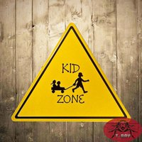 antique safety sign - quot KID ZONE quot Warning Safety Tin Metal signs For Schools Tin Sign With Striking Home Decor Craft Wall Painting
