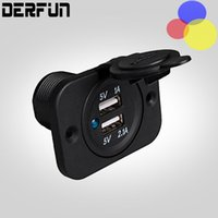Wholesale Waterproof Dual USB Motorcycle Car Charger Adapter V Battery Universal Ports outlet Socket Car RV Boat