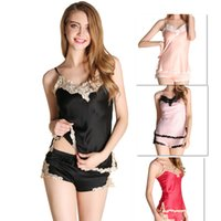Venta al por mayor Sexy Lingerie Set Dress + G-cadena de seda Lace pijama pijamas para las mujeres Langerie Nightwear y Sex String Two Piece Suit Underware