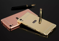 For Samsung aluminum compact mirror - Mirror Luxury Metal Aluminum Bumper Frame PC Back Cover for Sony Xperia Z1 Z2 Z3 Z4 Z5 Z3 COMPACT Z5 COMPACT M4 M5 C5