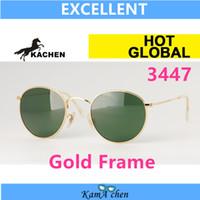 al por mayor gafas redondas enmarcadas-34-47 # 1 KaChen marco de oro redondo Verde Lente UV400 marco de protección de metal gafas de sol gafas de los hombres de las mujeres Tamaño normal