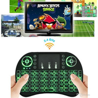 Wholesale Rii Mini i8 Keyboard Backlight English RED Green Blue Light Air Mouse Remote With Touchpad Handheld For T95 M8S S905X S905 S912 TV BOX p