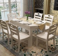 apartment dining table - Combination of simple solid wood dining table dining table and chair folding chair oak rectangular round table large sized apartment