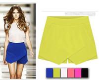 Wholesale 2017 New Hot Women s Summer Fashion Candy Colors Chiffon Tiered Zipped up Short Mini Shorts Pants Skirts