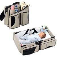baby portable crib - Baby Diaper Travel Bag Changing Station Portable Infant Nursery Crib Folding Bed