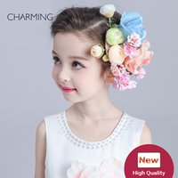 beautiful bamboo fiber - Hair flower beautiful Kids beauty contest And wedding hair tiara Kids dresses for girls Best flower girl Product supplier china