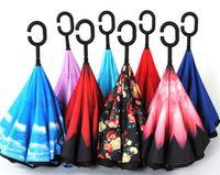 Wholesale sunshade umbrella Inverted guarda chuva Umbrella KAZbrella Windproof Reverse Folding Double Layer With C Handle Self Stand Rain Protection