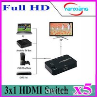 3x1 HDMI Switch HDMI HDMI 5pcs High Quality 3X1 HDMI Switcher Splitter Audio Video Converter with IR Rmote Control YX-QH-A