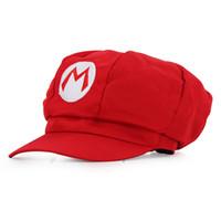 achat en gros de super tissus mario-20151006 Retal Vente en gros chapeaux Mario 5 Couleur Super Mario Bros chapeau luigi Cap Anime Cosplay Très mignon tissu épais