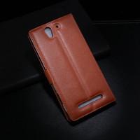 al por mayor xperia j leather-Para el caso de cuero de Sony C3 Caja de la carpeta de J de la alta calidad para Sony Xperia C3 D2533 D2502 Cubierta del tirón de S55T S55U con el soporte