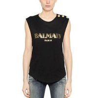 fashion brand stamps - Paris latest street fashion hot stamping letter individuality gold button women B brand sleeveless loose tee shirt T Shirt