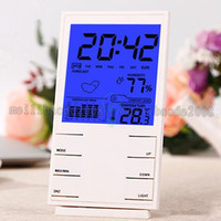 Wholesale 2017 NEW fashion HTC S High Precision quot LCD Electronic Hygrometer Thermometer w Calendar Alarm Clock Black MYY