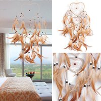 Wholesale 2017 New Heart Shape Dream Catcher with Feathers Wall Car Hanging Decoration Ornament Gift Feather Fabric ABS