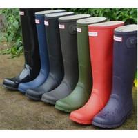 Wholesale 1 Ms glossy matte Rain Boots Waterproof Women Wellies Boots Woman Rain Boots High Boot Rainboots rainshoes galoshes rain boot rain shoes